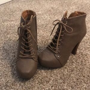 Lace up taupe-brown heeled booties